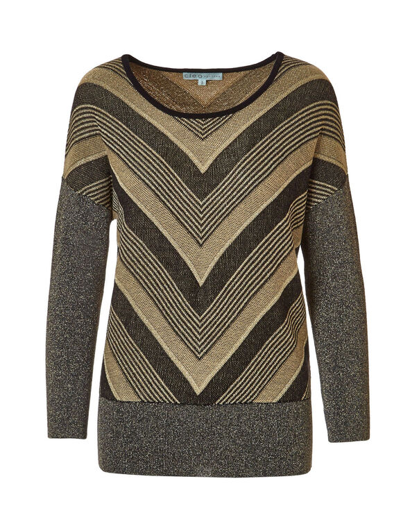 Gold Dolman Sleeve Sweater, Gold/Black, hi-res