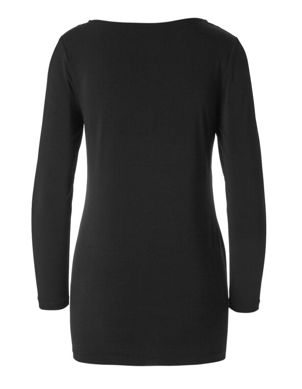 Black Side Zip Tunic, Black, hi-res