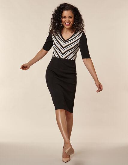 Black Striped Sheath Dress, Black/Neutral, hi-res