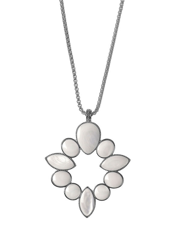 White Shell Pendant Long Necklace, Silver, hi-res
