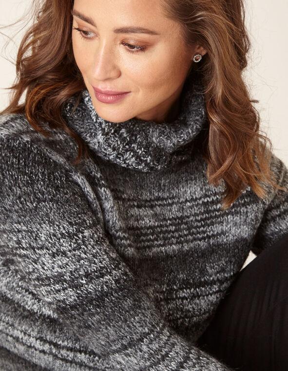 Grey Striped Turtleneck Sweater, Black, hi-res