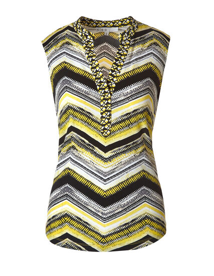 Yellow Striped Printed Top, Yellow, hi-res