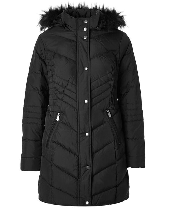 Black 50/50 Down Smocked Jacket, Black, hi-res