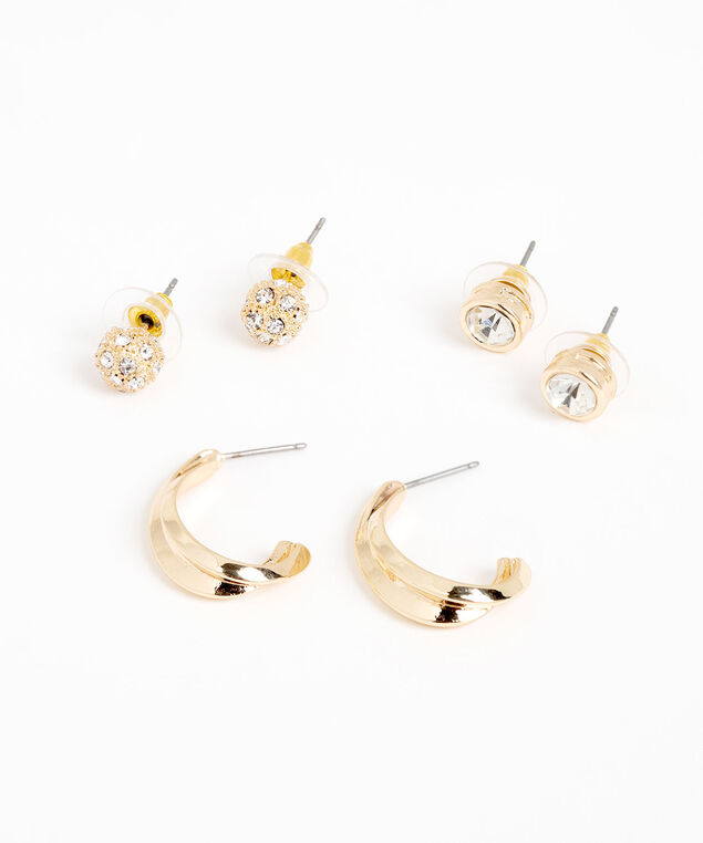 Gold & Crystal Earring 3-Pack, Gold