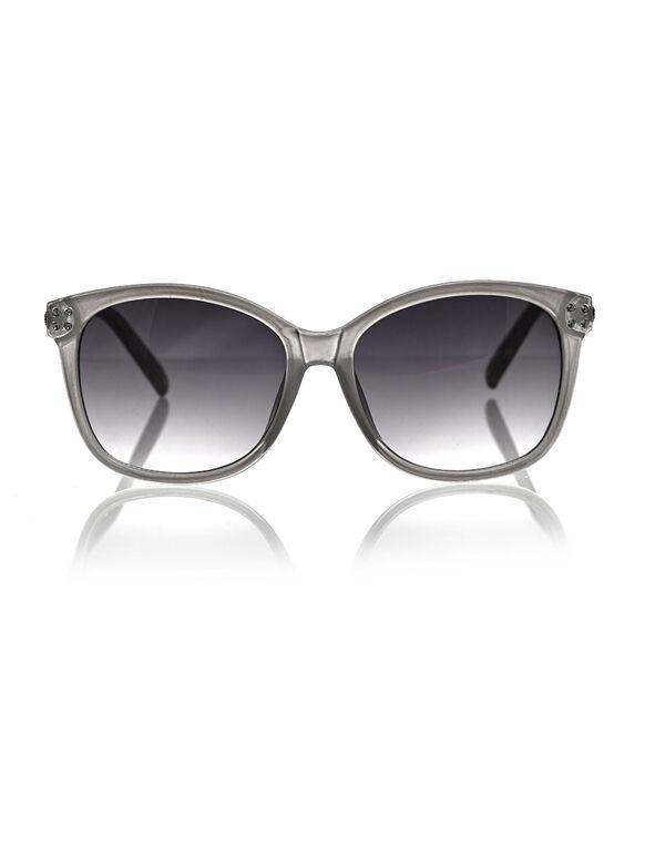 Grey Bling Wayfarer Sunglasses, Grey, hi-res