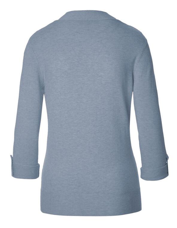 Blue Mid Length Roll Cardigan, Blue Mix, hi-res