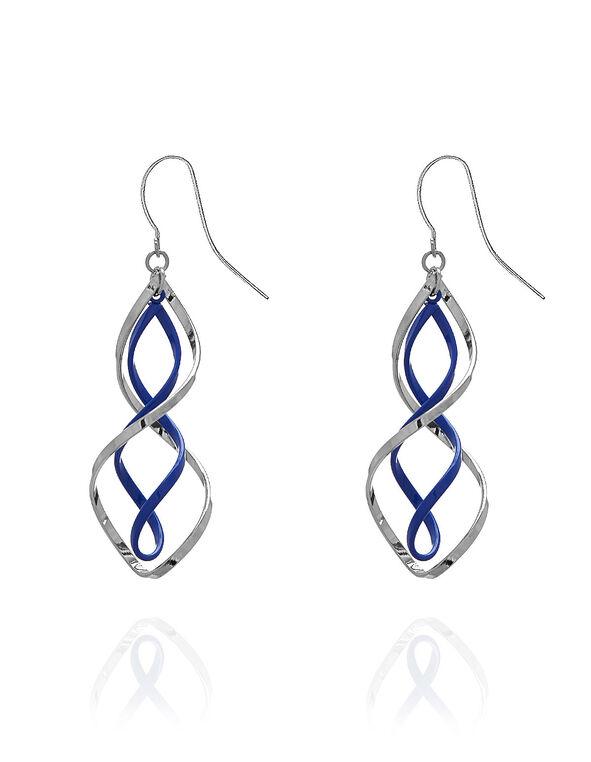 Cobalt & Silver Twist Earring, Blue, hi-res