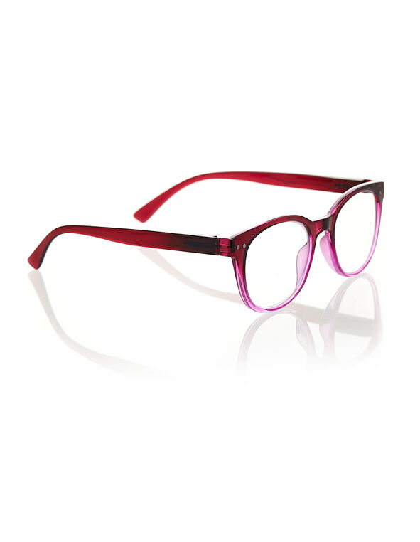Transparent Pink Ombre Reader, Pink/Red, hi-res