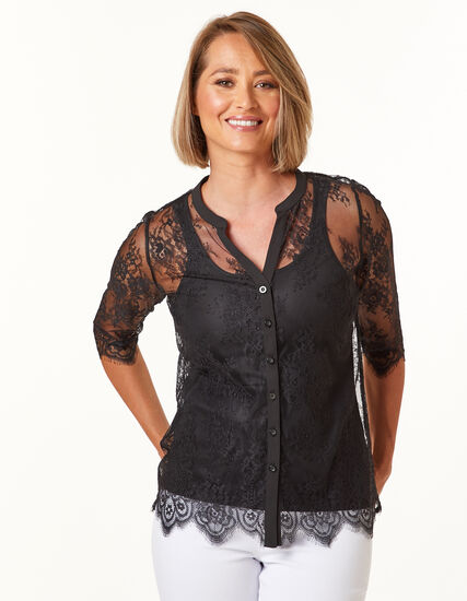 Black Lace Top, Black, hi-res
