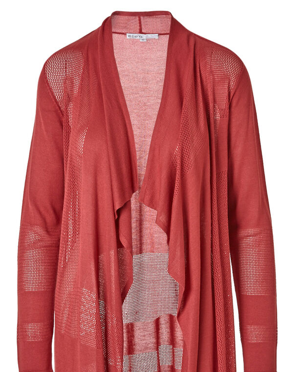 Coral Open Front Cardigan, Coral, hi-res