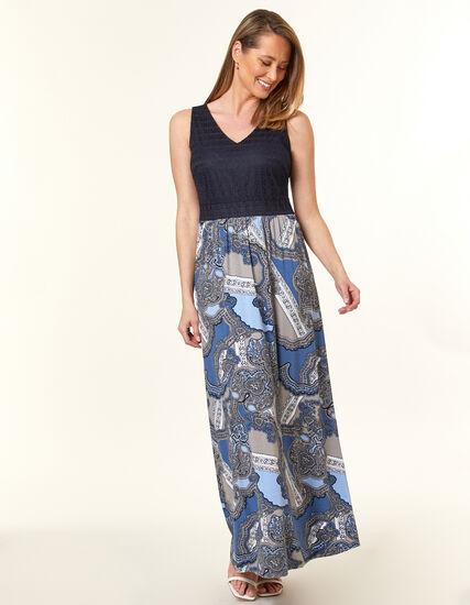 Navy Printed Lace Maxi Dress, Navy, hi-res