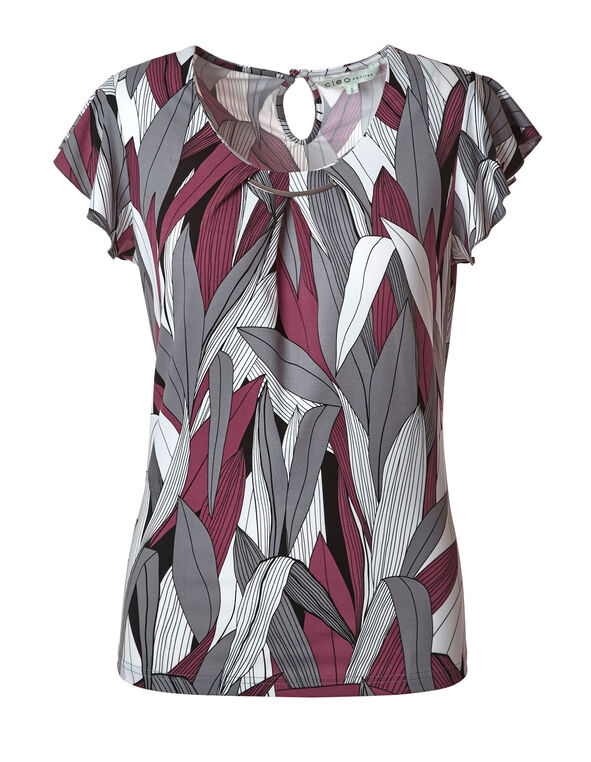 Sangria Printed Ruffle Sleeve Top, Sangria/Grey, hi-res