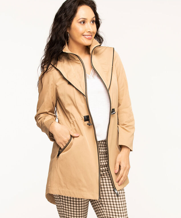 Tan Hooded Zip Front Anorak, Tan
