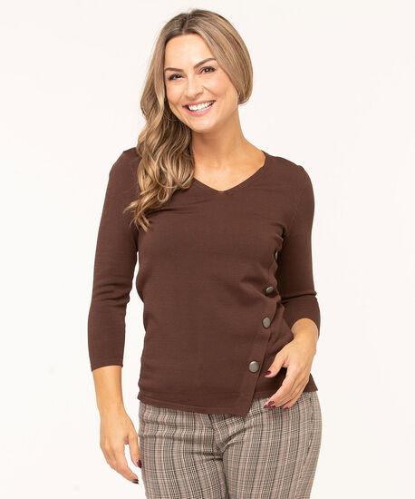 V-Neck Crepe Pullover Sweater, Brown, hi-res