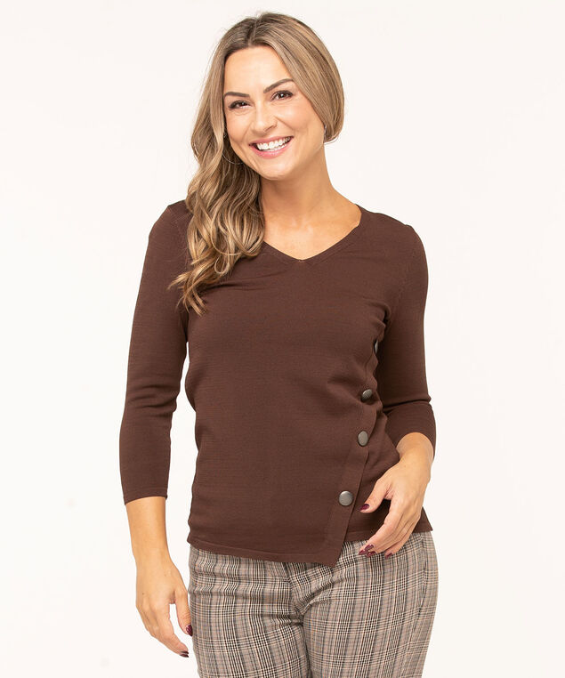 V-Neck Crepe Pullover Sweater, Brown, hi-res