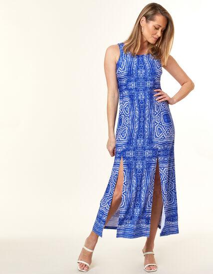 Blue Patterned Maxi Dress, Blue, hi-res