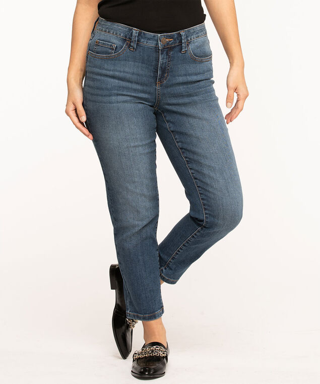 Vintage Wash Butt Lift Slim Ankle Jean, Mid Wash