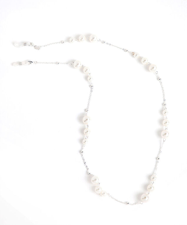 Pearl & Silver Mask & Sunglass Chain, Silver/Pearl