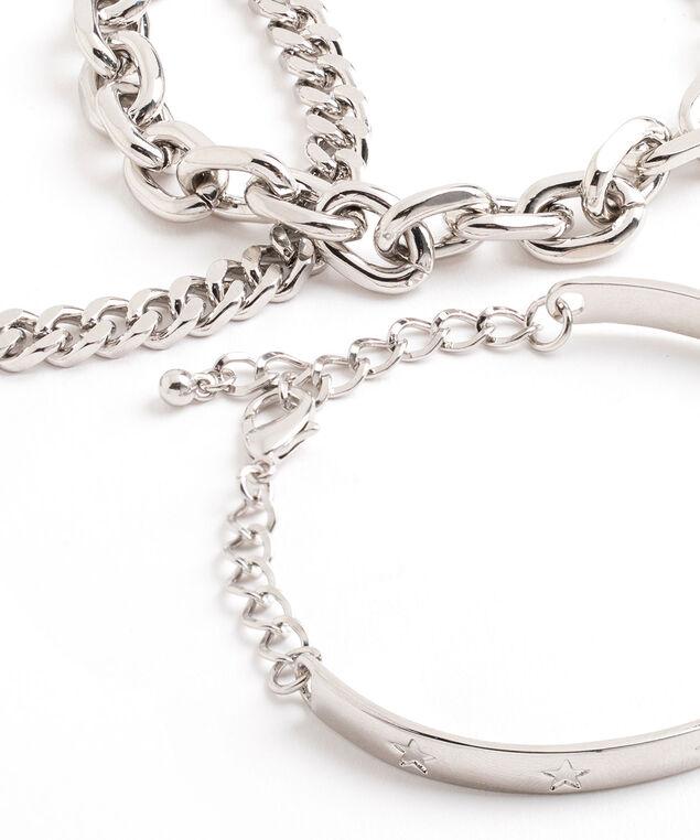Rhodium Bangle Bracelet 3-Pack, Rhodium