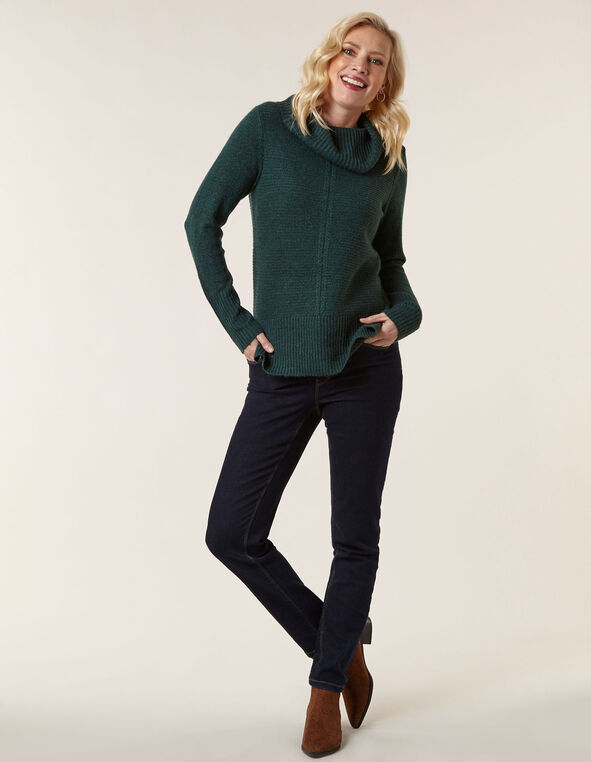 Emerald Rib Stitch Sweater, Emerald, hi-res