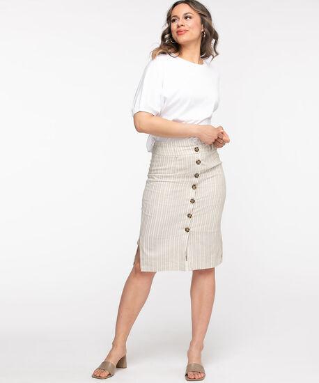 Linen Blend Button Front Pencil Skirt, Stone Stripe, hi-res