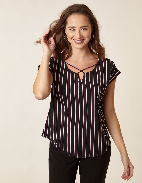 Fuchsia Striped Crepe Blouse, Fuchsia/Black, hi-res