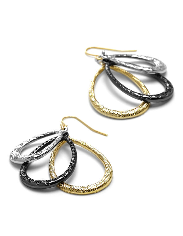Tri-Metal Pear Pendant Earring, Gold/Black/Silver, hi-res
