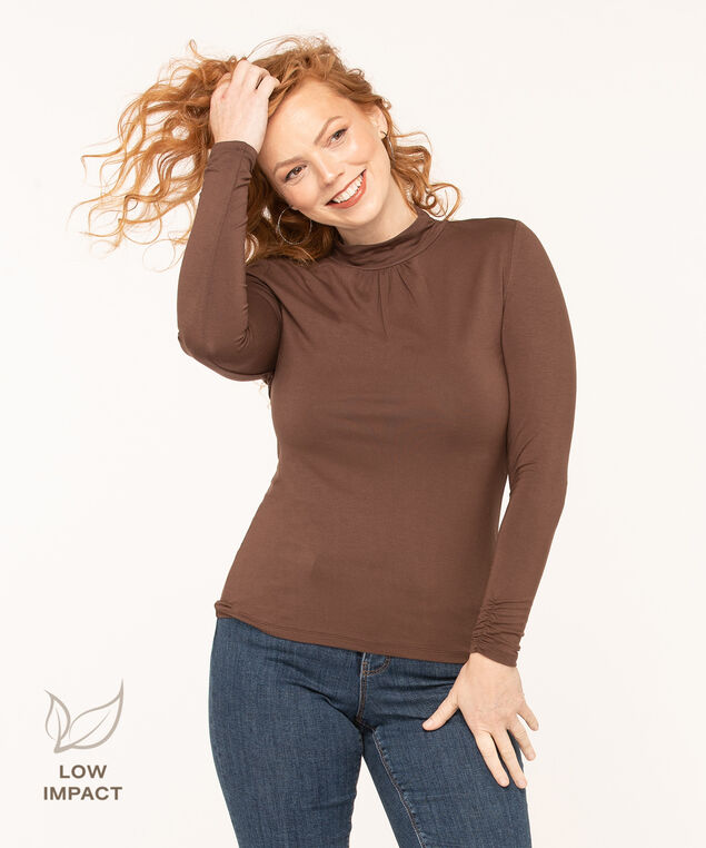 Low Impact Mock Neck Top, Brown, hi-res