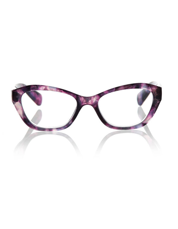 Purple Marble Cat Eye Reader, Purple, hi-res