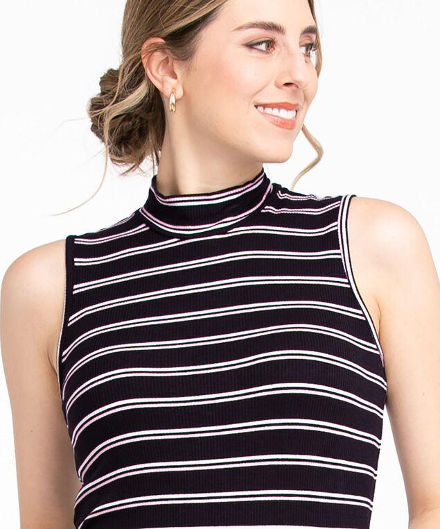 Ribbed Mock Neck Top, Black/Ivory/Soft Pink Stripe