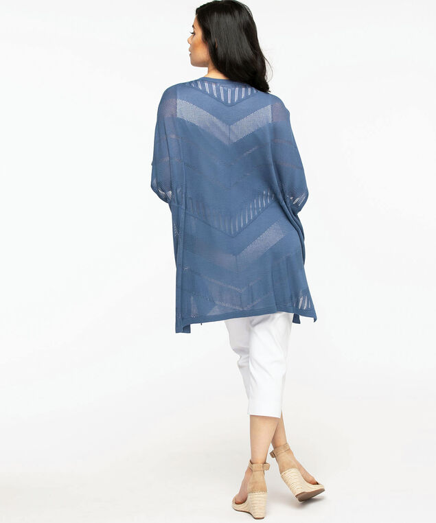 Mesh Detail Kimono Sweater, Indigo