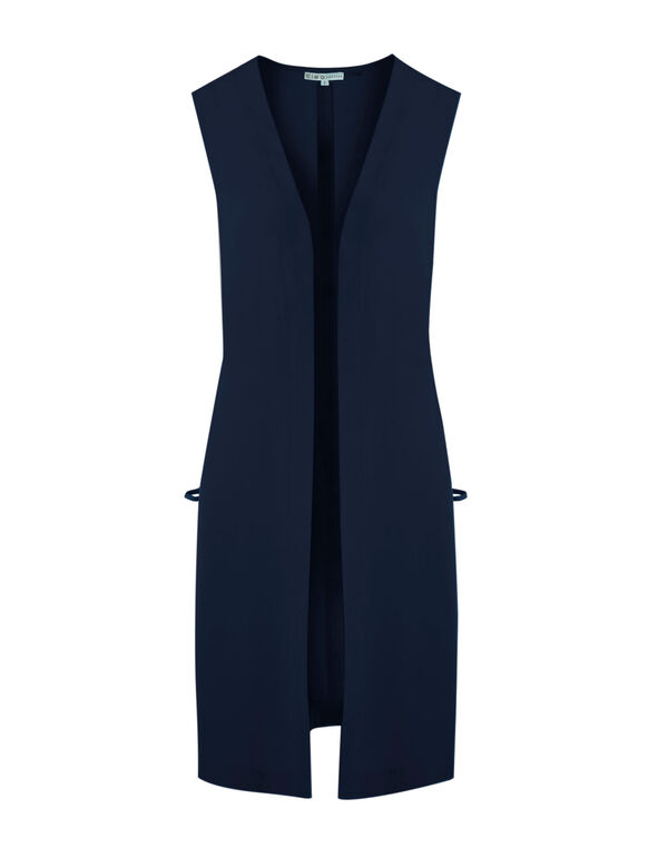 Navy Long Vest, Navy, hi-res