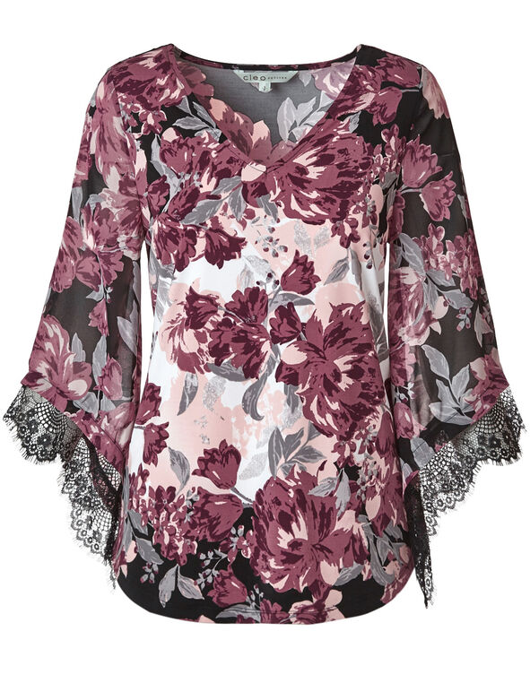 Wine Floral Chiffon Sleeve Top, Wine, hi-res