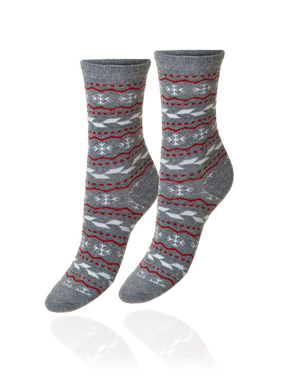 Grey Patterned Crew Sock, Grey, hi-res