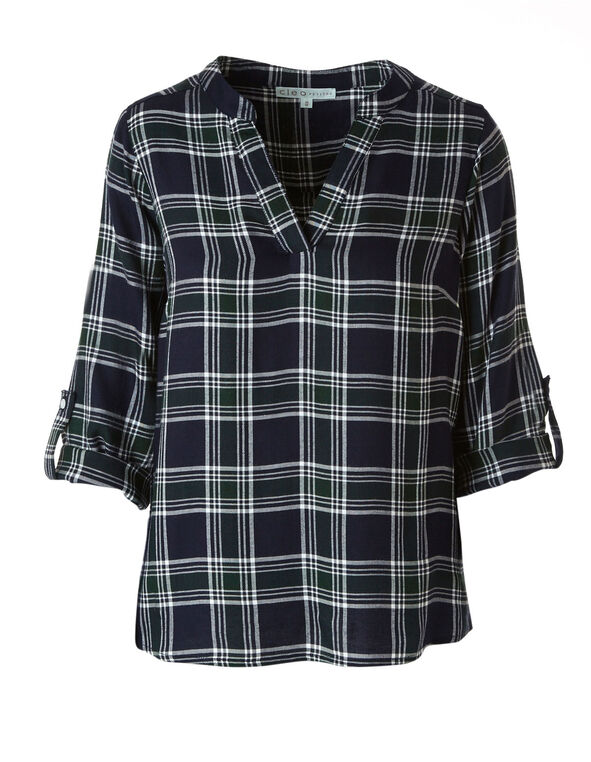 Blue Plaid Roll Sleeve Blouse, Blue, hi-res