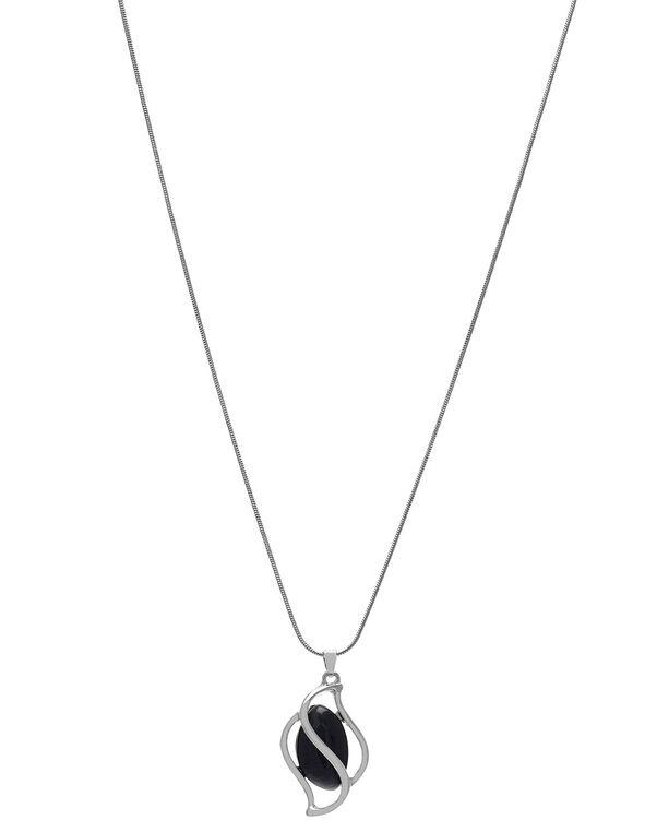 Black Cat Eye Short Necklace, Black, hi-res