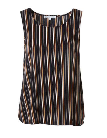 Stripe Sleeveless Shell Blouse, Navy, hi-res