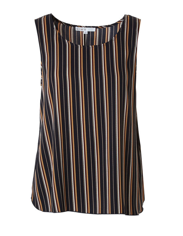 Stripe Sleeveless Shell Blouse, Navy, hi-res