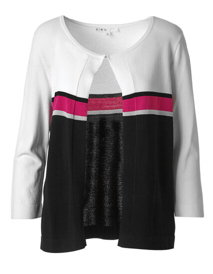 White Striped Crepe Cardigan, White/Black/Pink, hi-res