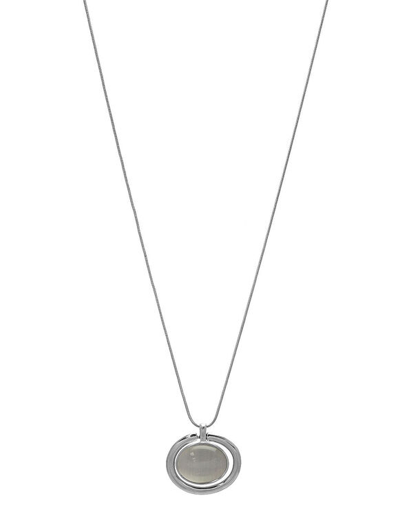 Reversible Cat Eye Necklace, Silver, hi-res