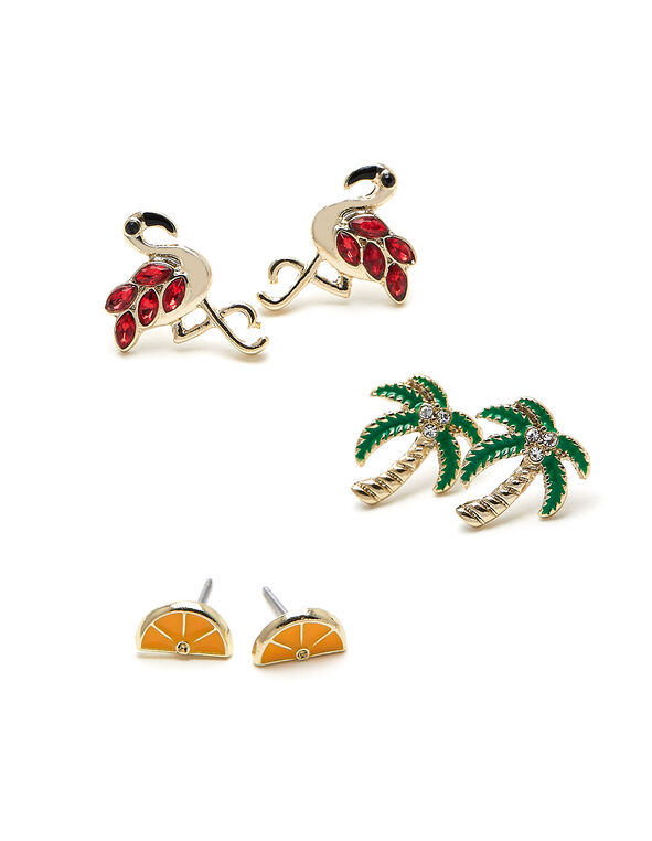 Tropical Earring Trio, Pink/Green/Orange, hi-res