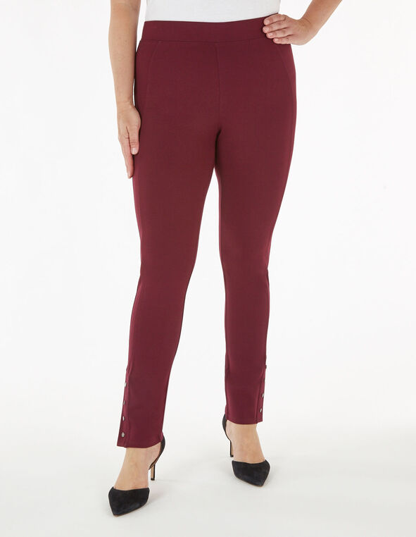 Merlot Snap Bottom Legging, Wine, hi-res