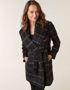 Black Wool Blend Plaid Wrap Coat, Black, hi-res