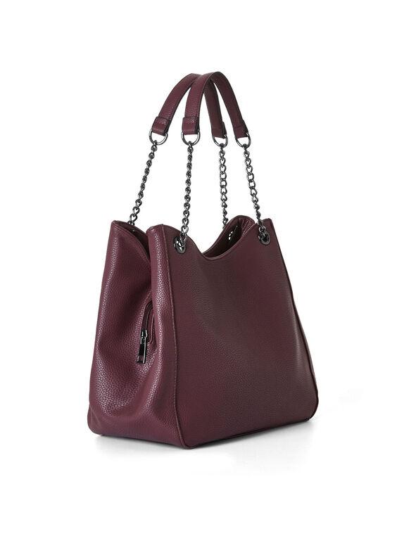 Burgundy Hobo Tote Bag, Burgundy, hi-res