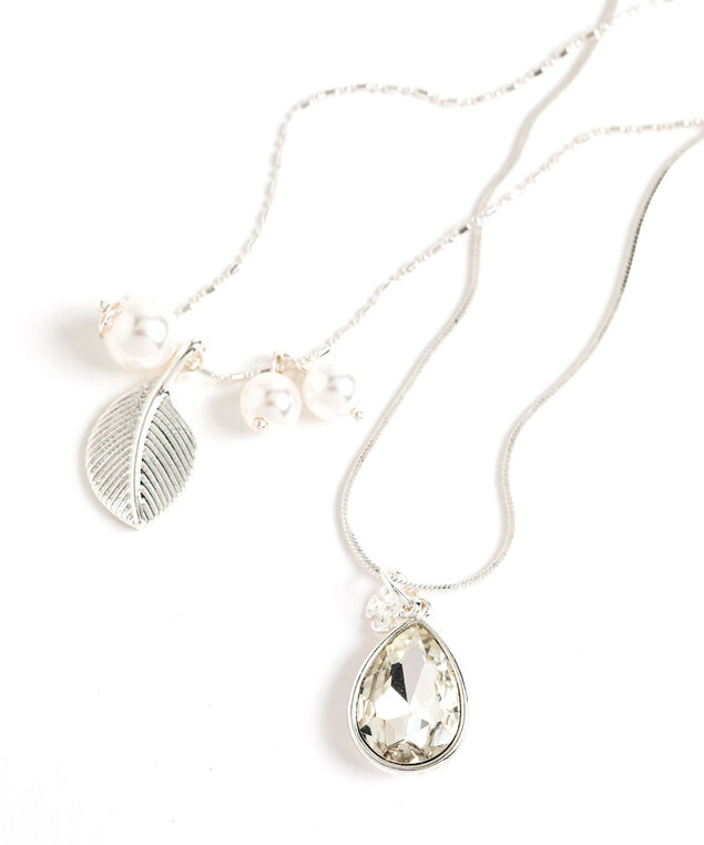 Convertible Layered Pendant Necklace, Silver