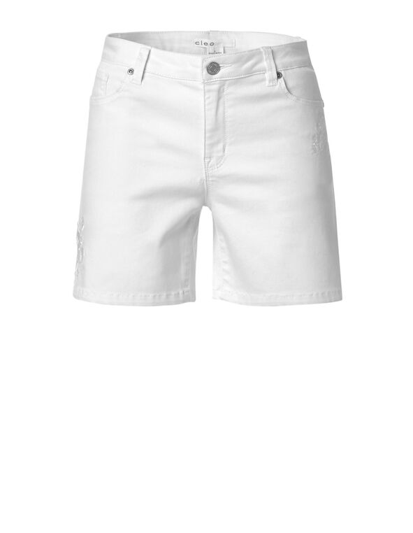 White Denim Embroidered Short, White, hi-res