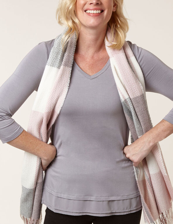 Grey Chiffon Hem Top, Grey, hi-res