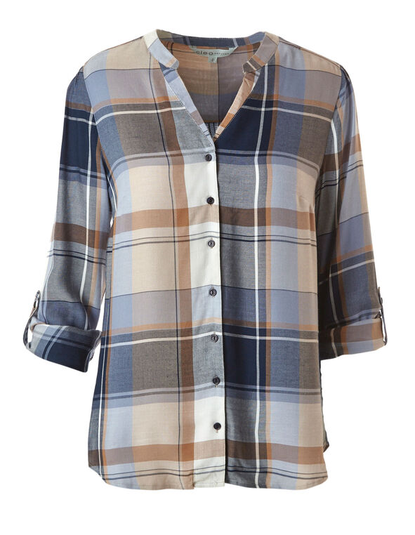 Camel Plaid Roll Sleeve Blouse, Camel, hi-res