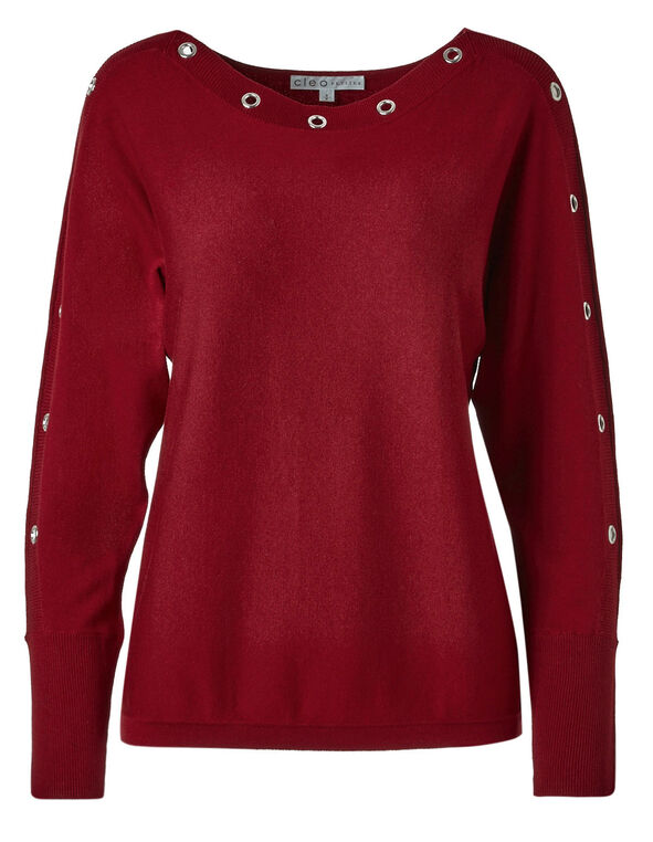 Red Grommet Sweater, Red, hi-res