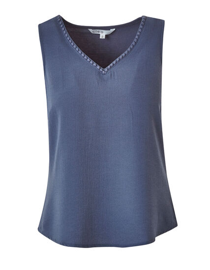 Blue Crepe Front Top, Blue, hi-res